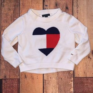 Tommy Hilfiger Heart Knit Sweater Girls 6-7 S (Sx)